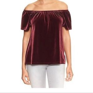 GAP Velvet Off The Shoulder Blouse Size S